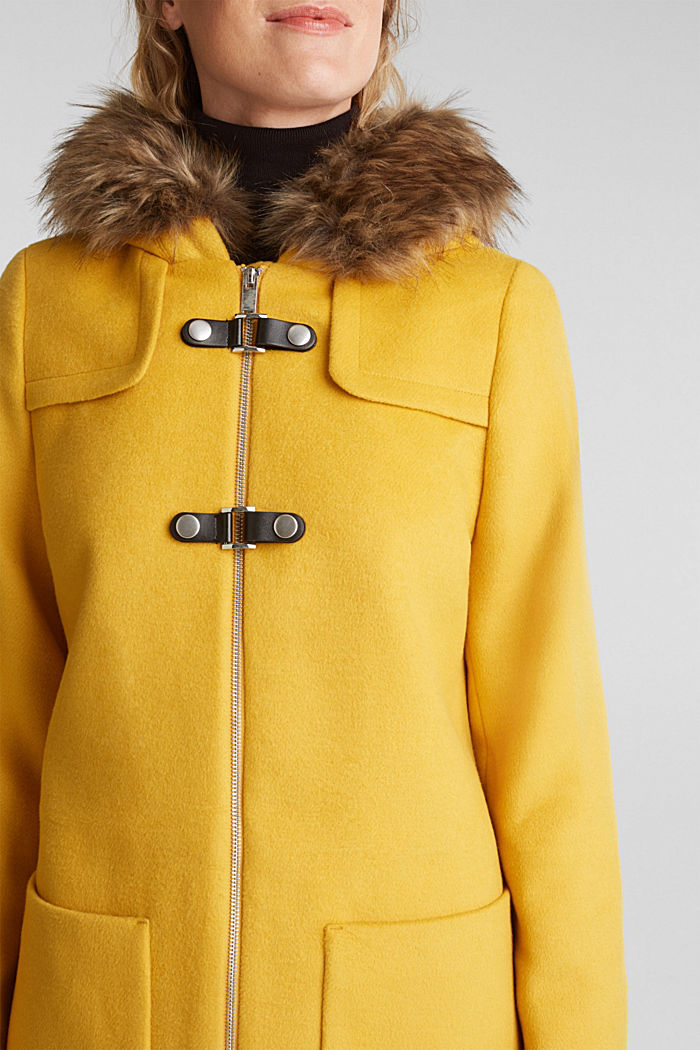 Padded coat with faux fur and wool, AMBER YELLOW, detail image number 2