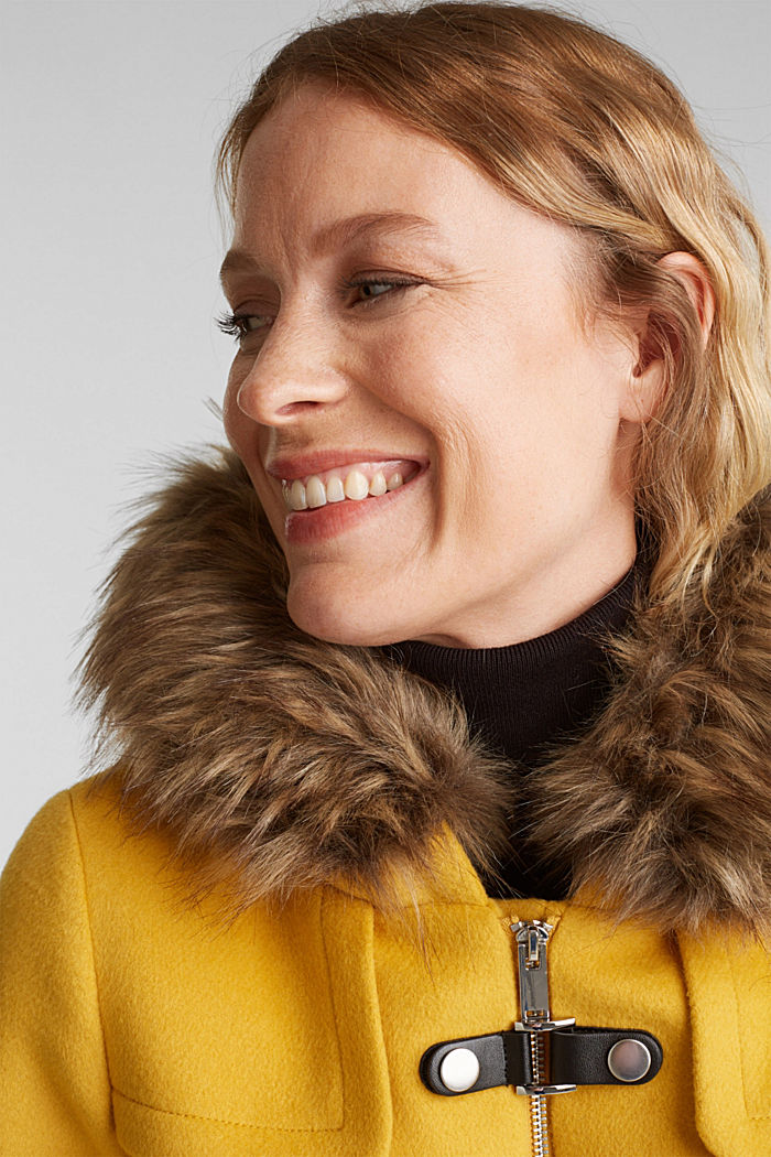 Padded coat with faux fur and wool, AMBER YELLOW, detail image number 5