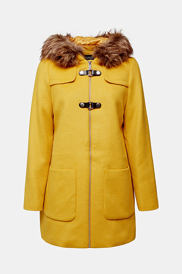 Padded coat with faux fur and wool, AMBER YELLOW, detail image number 6