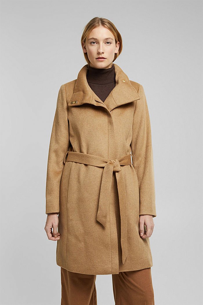 Wool blend: coat with a stand-up collar, CAMEL, detail image number 0