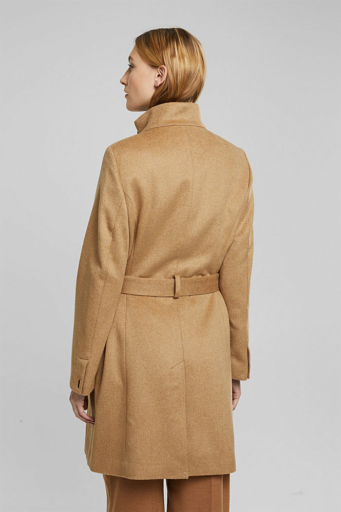 Wool blend: coat with a stand-up collar, CAMEL, detail image number 3