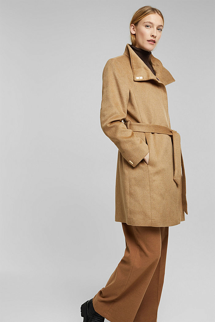 Wool blend: coat with a stand-up collar, CAMEL, detail image number 6
