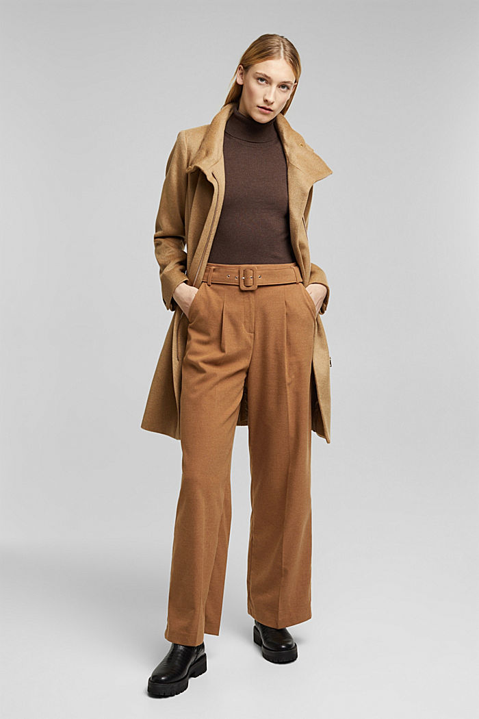 Wool blend: coat with a stand-up collar, CAMEL, detail image number 1