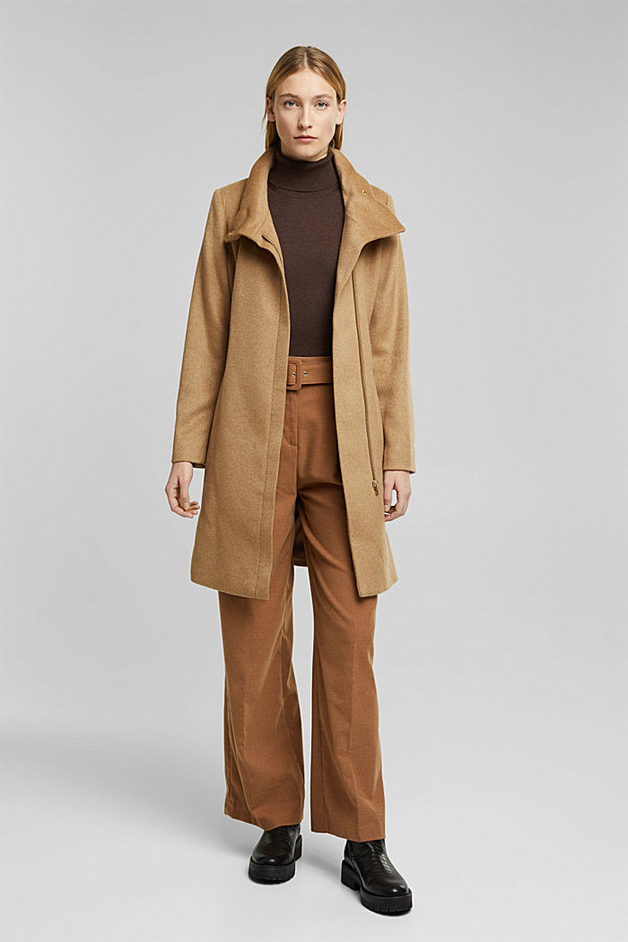 Wool blend: coat with a stand-up collar, CAMEL, detail image number 7