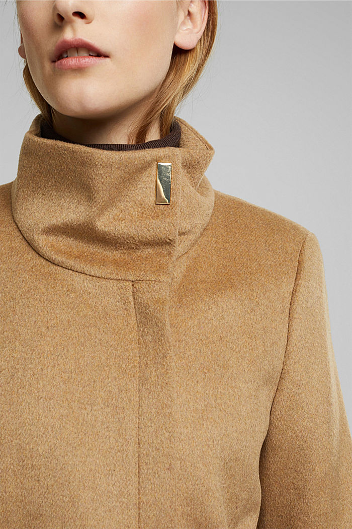 Wool blend: coat with a stand-up collar, CAMEL, detail image number 2