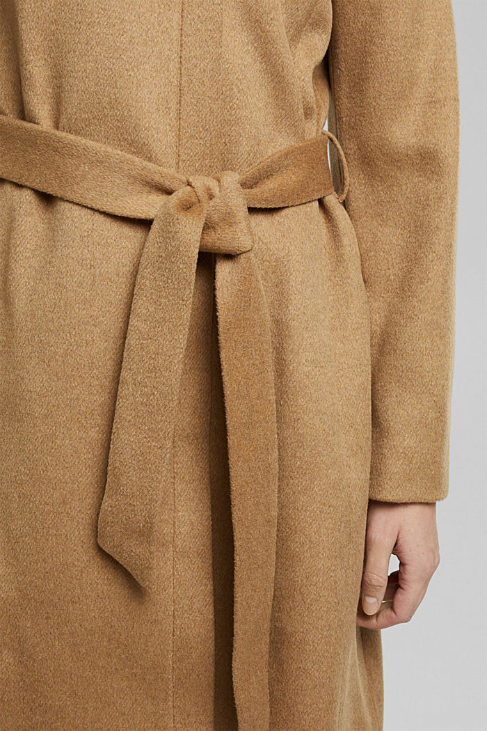 Wool blend: coat with a stand-up collar, CAMEL, detail image number 5