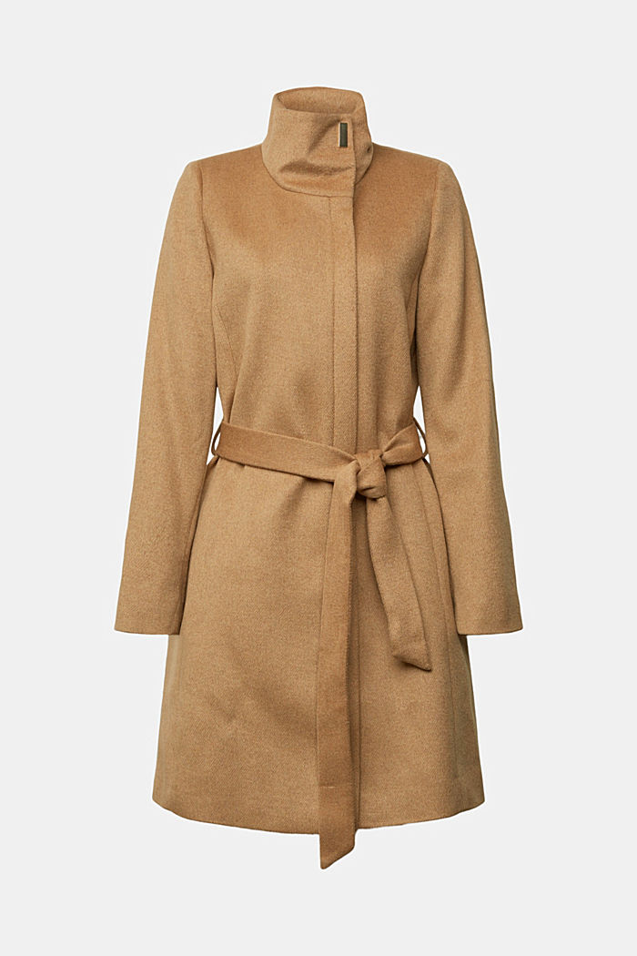 Wool blend: coat with a stand-up collar, CAMEL, detail image number 8