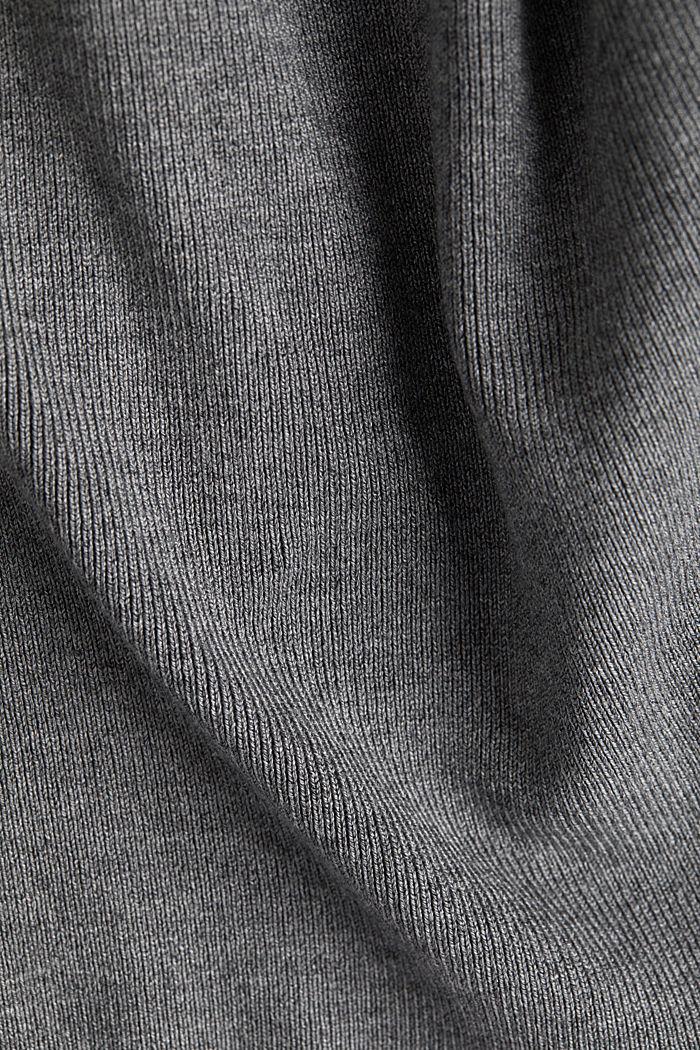LENZING™ ECOVERO™ jumper with a V-neck, GUNMETAL, detail image number 4