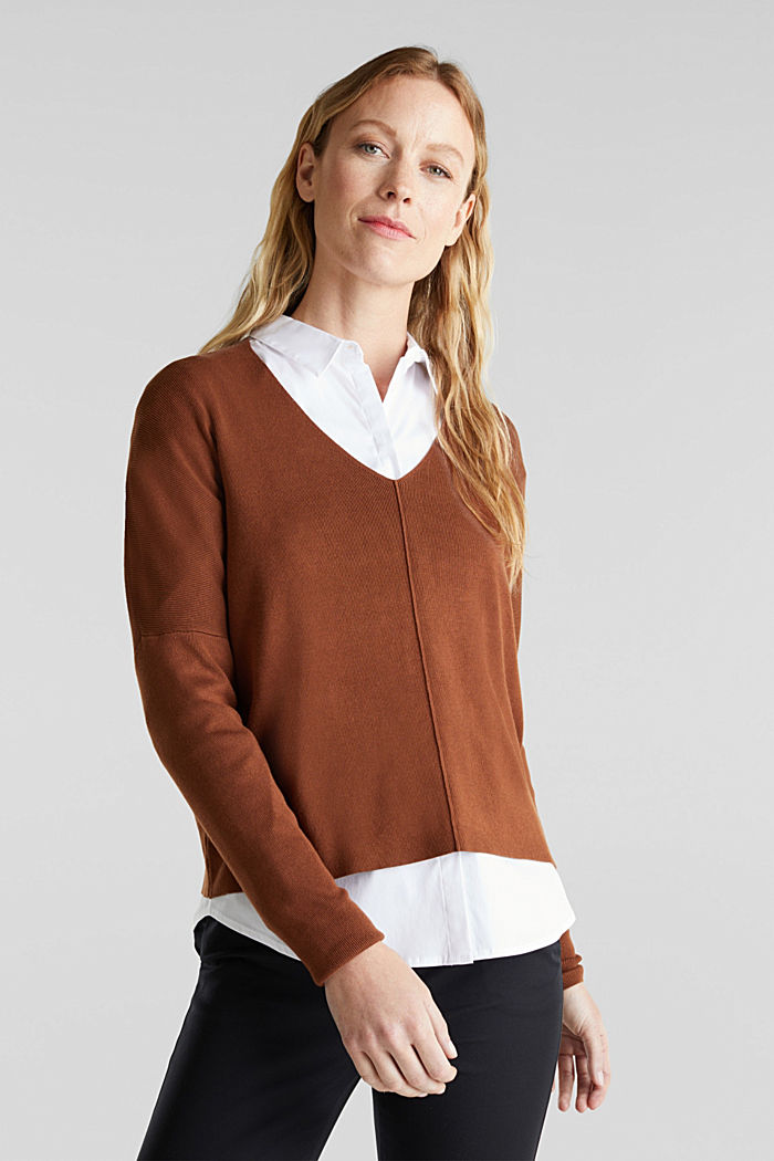 LENZING™ ECOVERO™ jumper with a V-neck, TOFFEE, detail image number 0