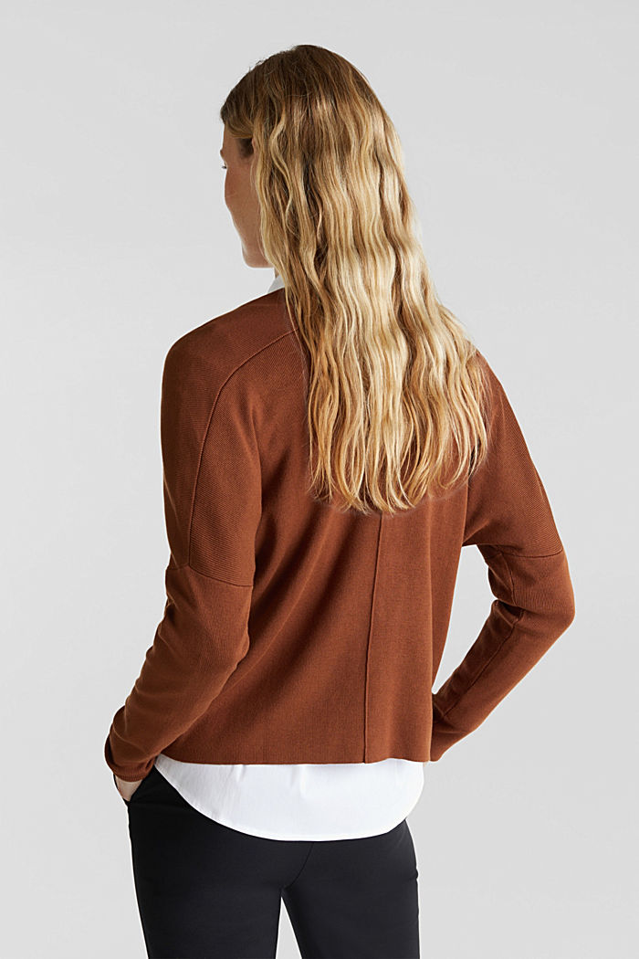 LENZING™ ECOVERO™ jumper with a V-neck, TOFFEE, detail image number 3