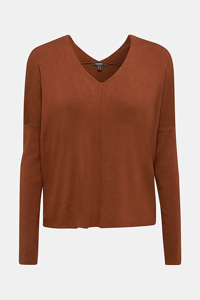 LENZING™ ECOVERO™ jumper with a V-neck, TOFFEE, detail image number 6