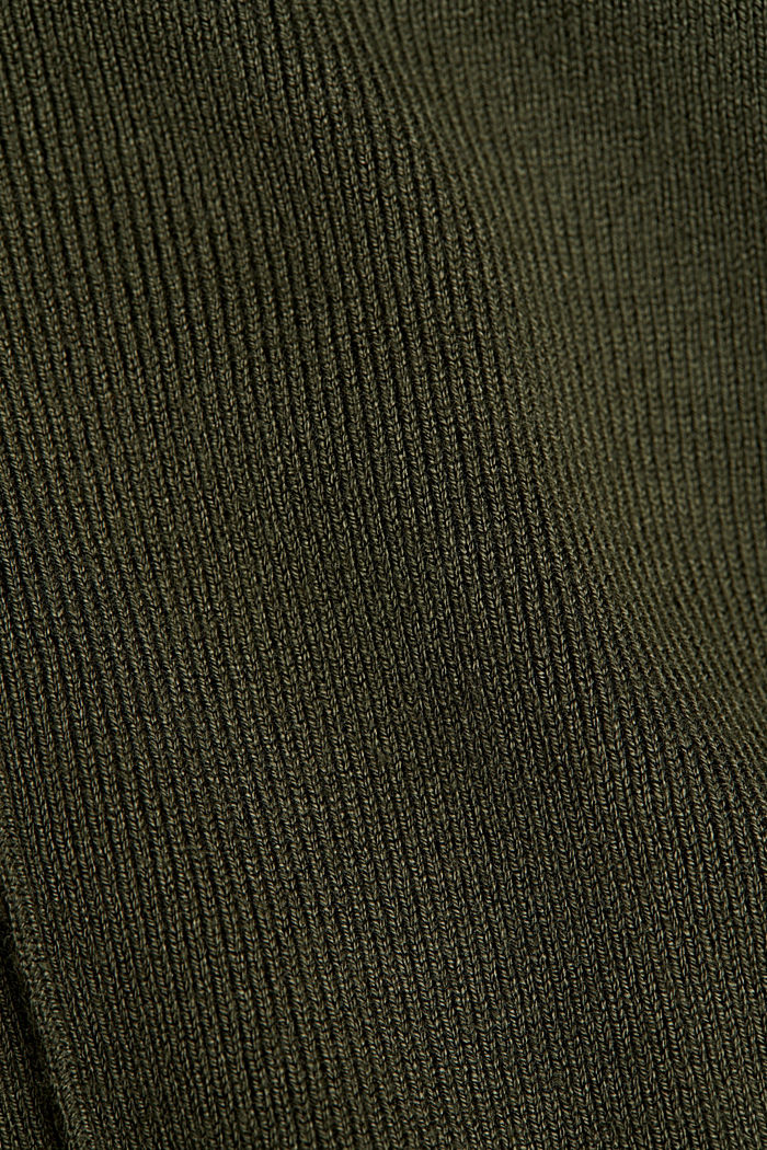 LENZING™ ECOVERO™ jumper with a V-neck, KHAKI GREEN, detail image number 4