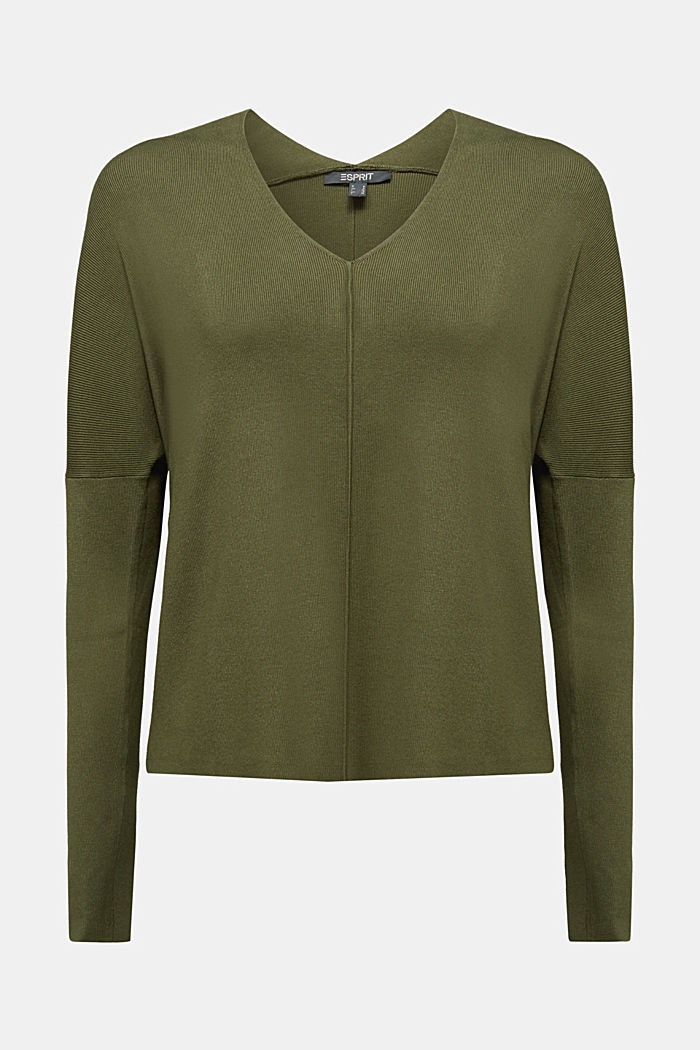 LENZING™ ECOVERO™ jumper with a V-neck, KHAKI GREEN, detail image number 5