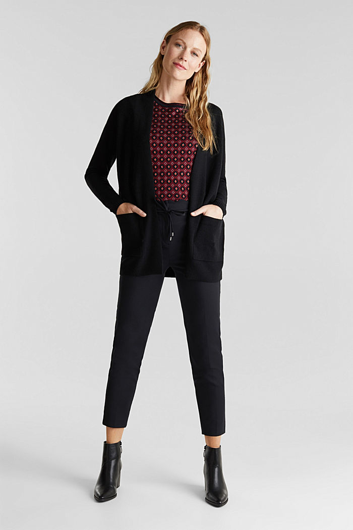 Open front cardigan with cashmere, BLACK, detail image number 1