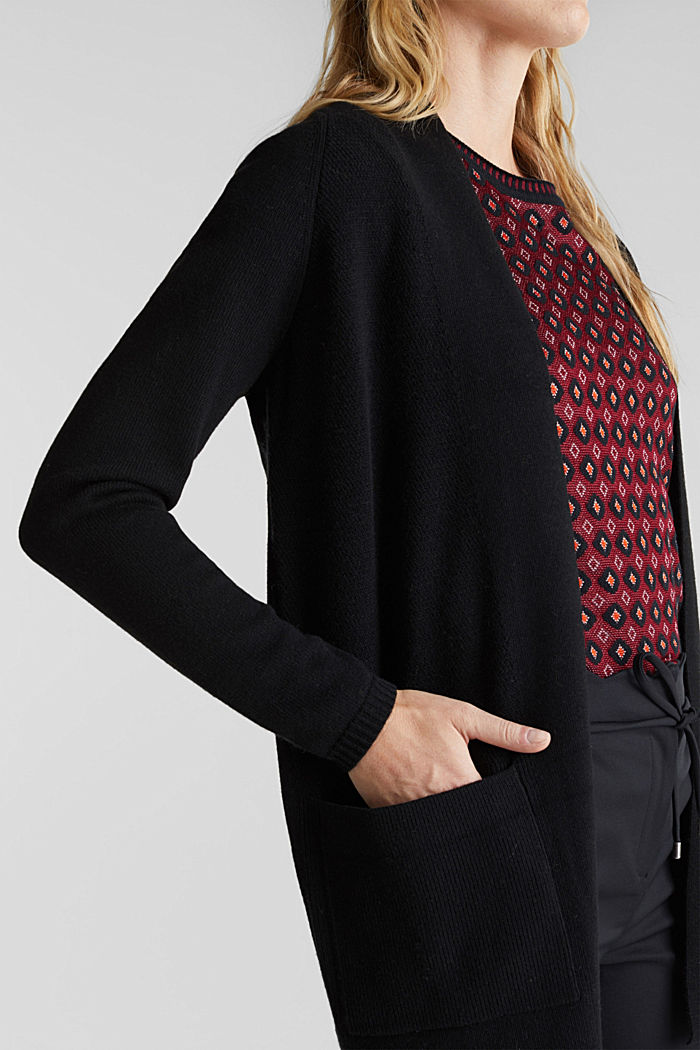 Open front cardigan with cashmere, BLACK, detail image number 2