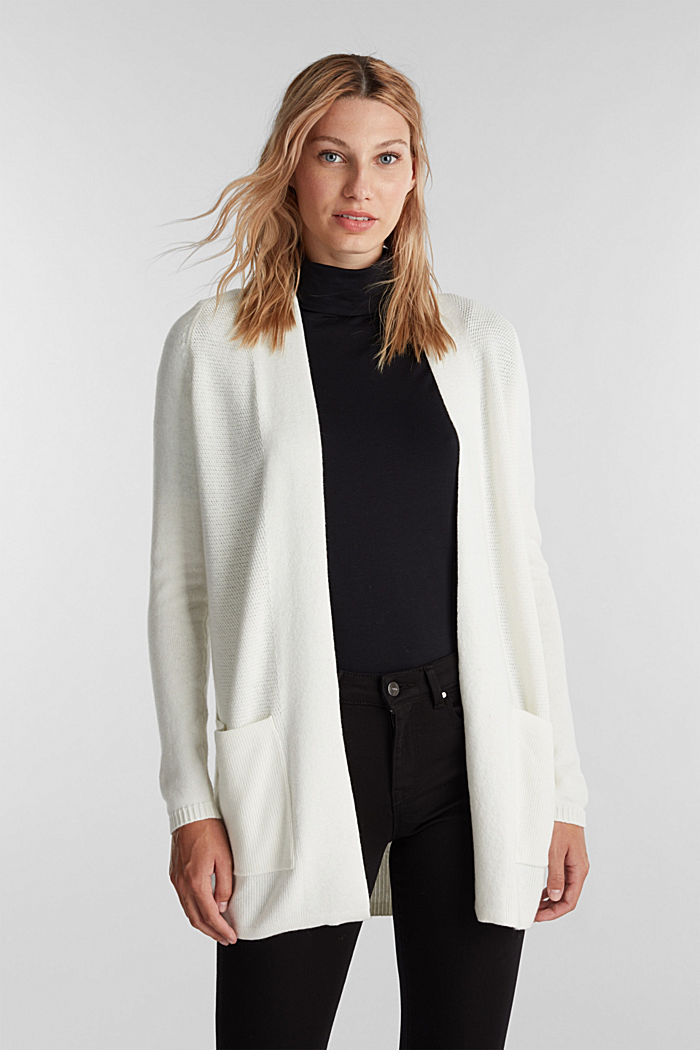 Open front cardigan with cashmere, OFF WHITE, detail image number 0