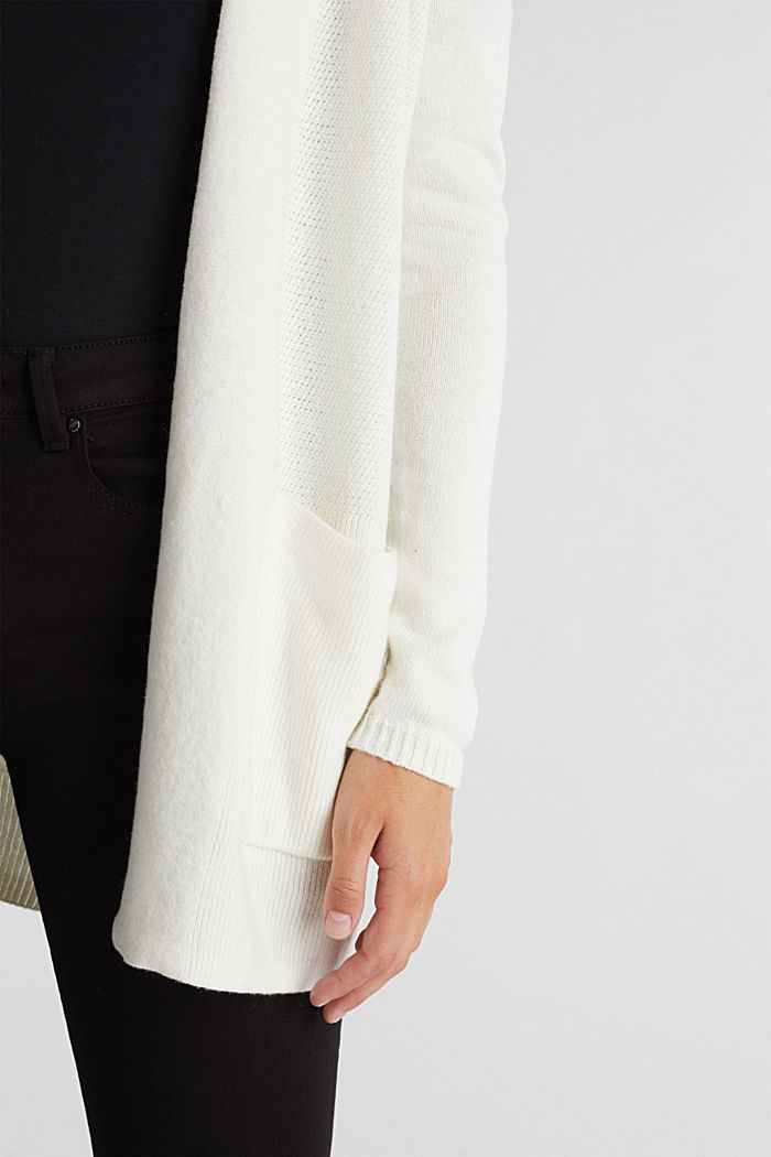 Open front cardigan with cashmere, OFF WHITE, detail image number 2
