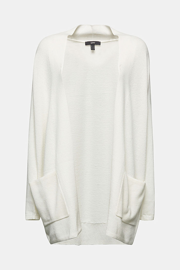 Open front cardigan with cashmere, OFF WHITE, detail image number 5