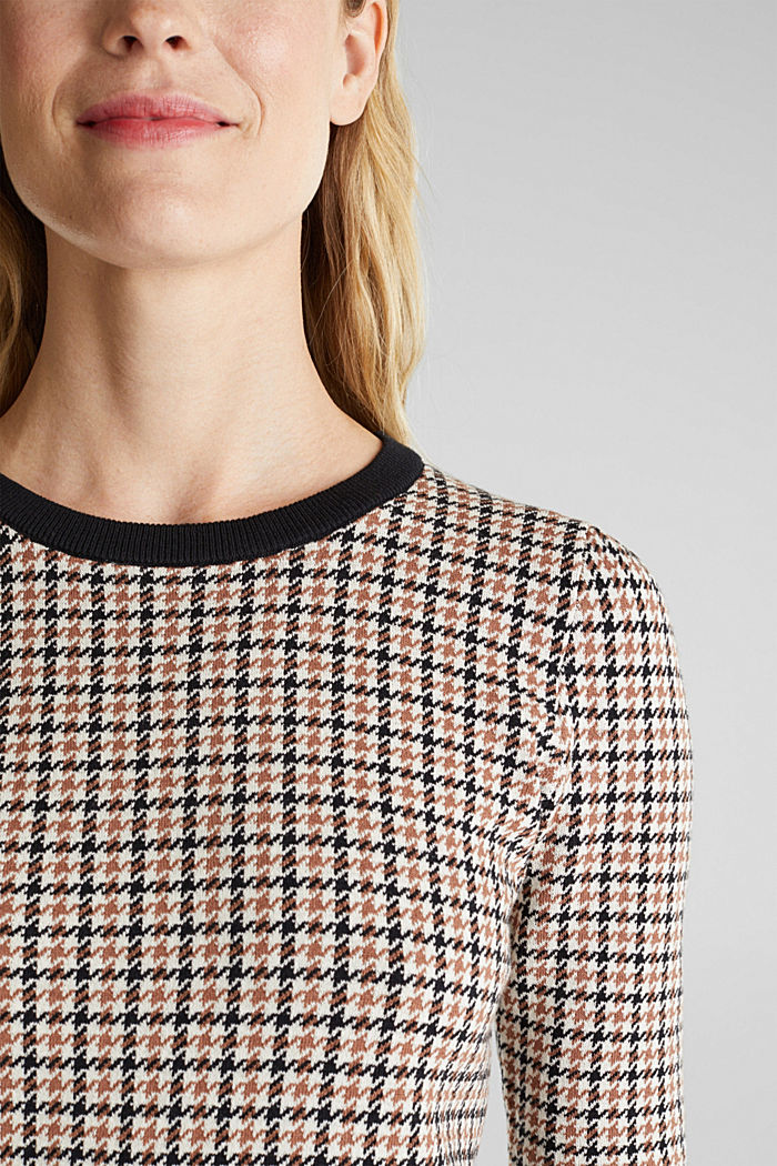 Houndstooth jumper, 100% cotton, OFF WHITE, detail image number 2