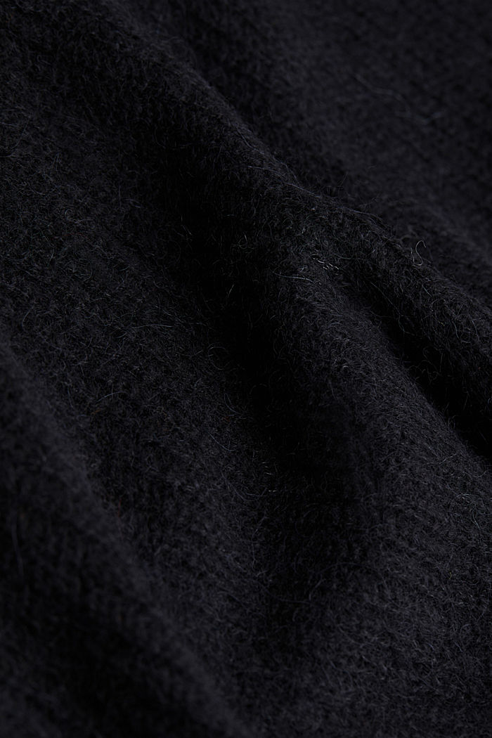 Met alpaca: trui met V-hals, BLACK, detail image number 4