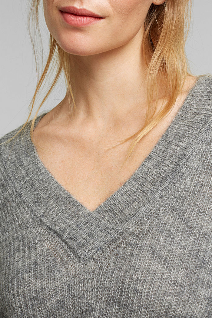 Alpaca blend: V-neck jumper, GUNMETAL, detail image number 2