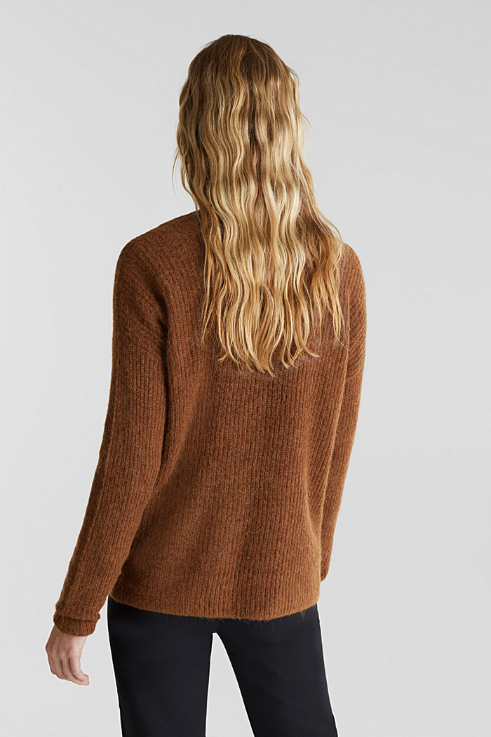 Alpaca blend: V-neck jumper, TOFFEE, detail image number 3