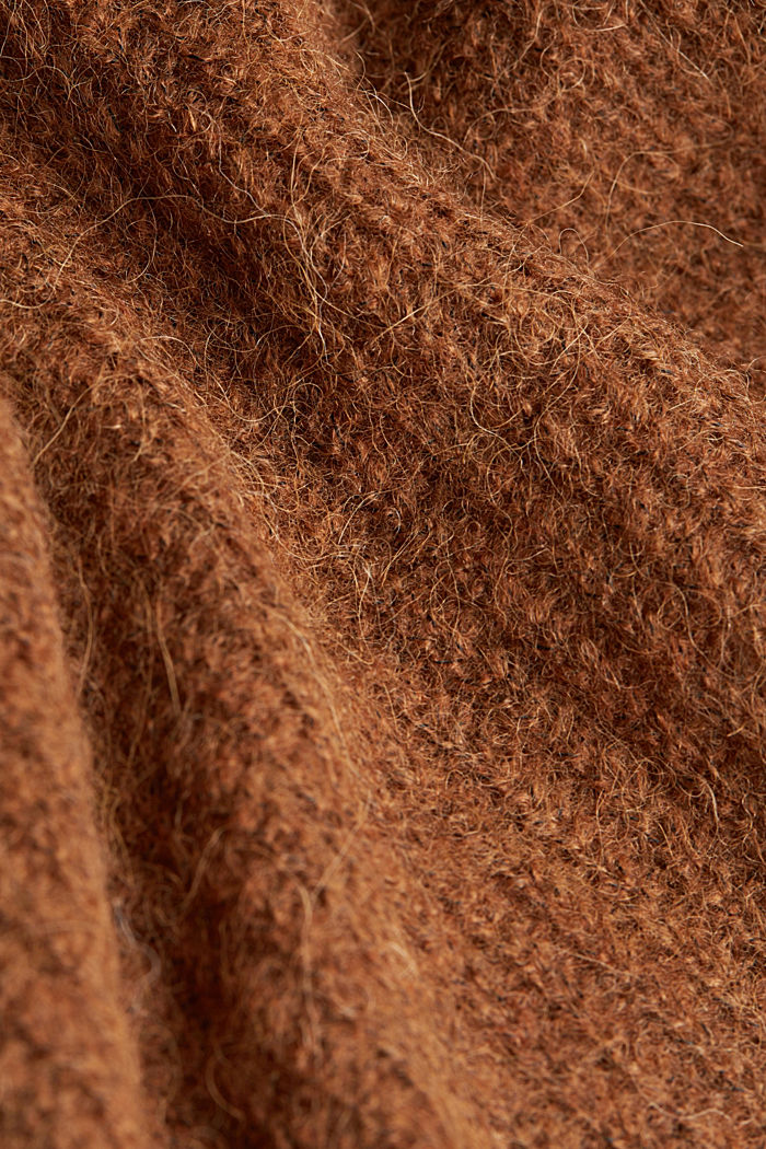 Alpaca blend: V-neck jumper, TOFFEE, detail image number 4