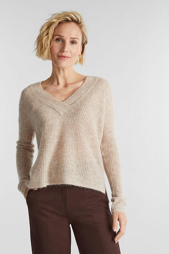 Alpaca blend: V-neck jumper, SAND, detail image number 0