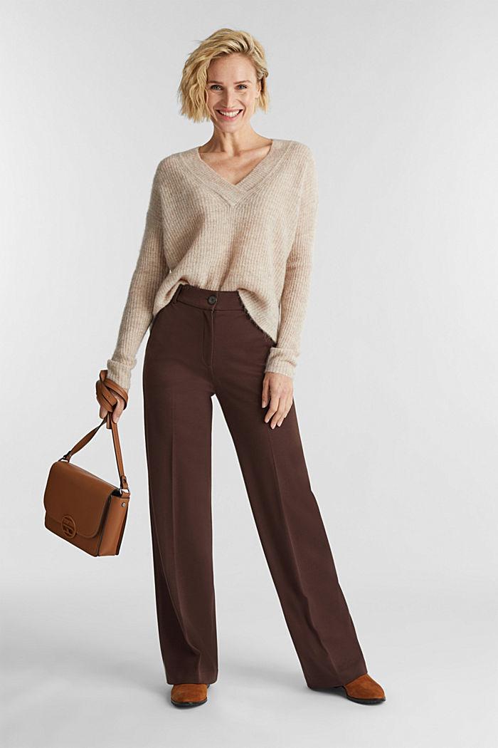 Alpaca blend: V-neck jumper, SAND, detail image number 1