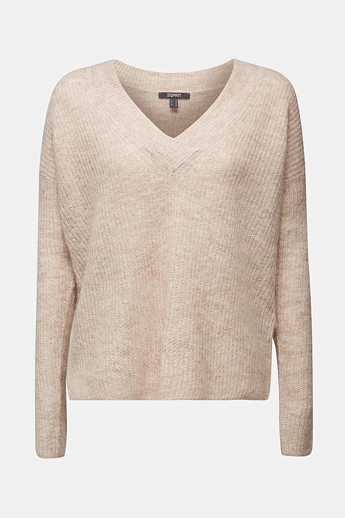 Alpaca blend: V-neck jumper, SAND, detail image number 6