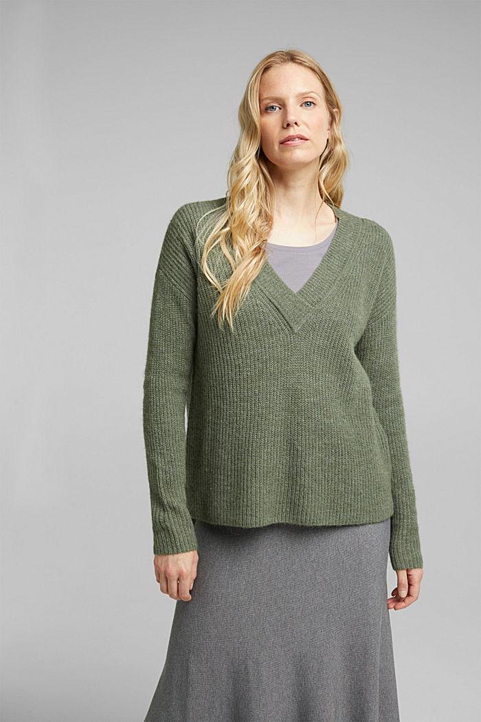 Mit Alpaka: Pullover mit V-Ausschnitt, KHAKI GREEN, detail image number 0