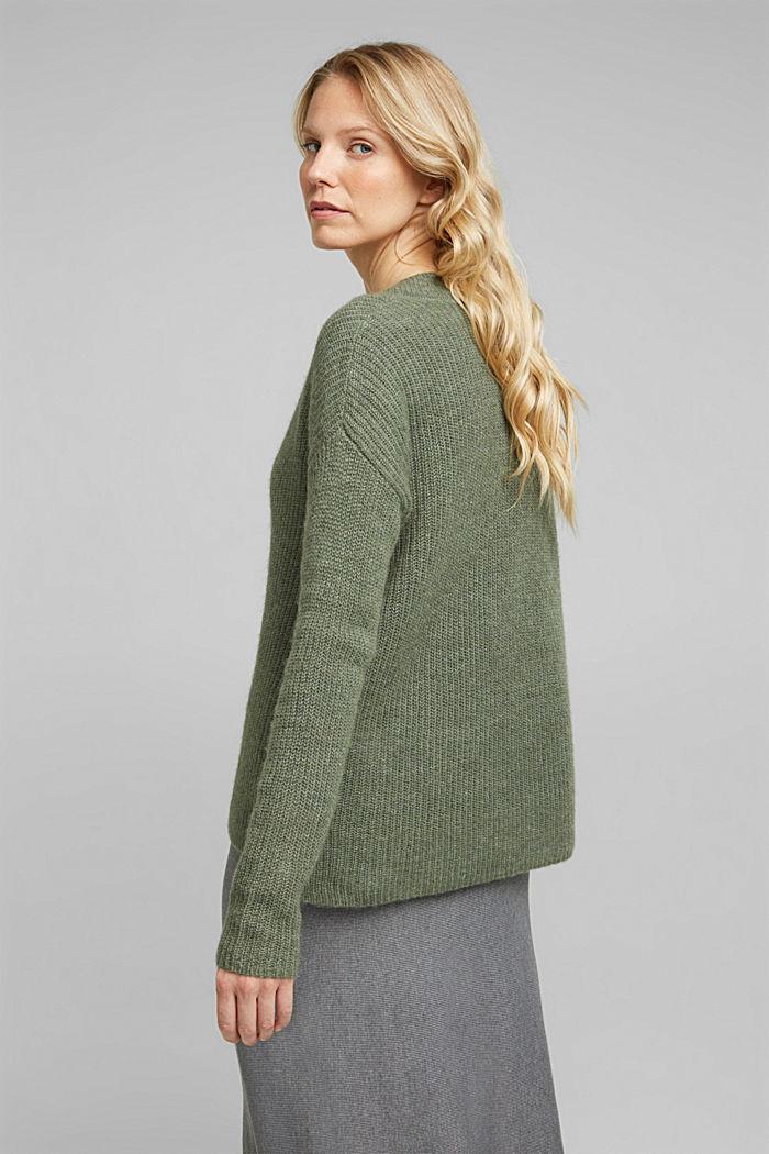 Alpaca blend: V-neck jumper, KHAKI GREEN, detail image number 3