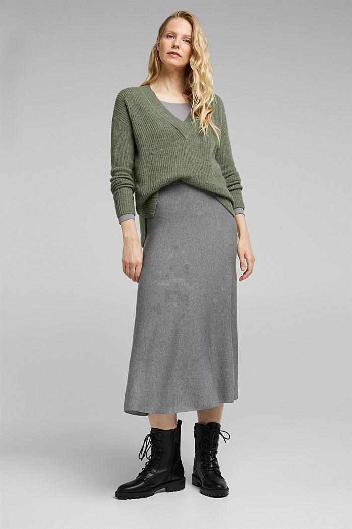 Mit Alpaka: Pullover mit V-Ausschnitt, KHAKI GREEN, detail image number 5