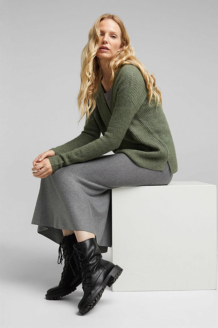 Mit Alpaka: Pullover mit V-Ausschnitt, KHAKI GREEN, detail image number 1