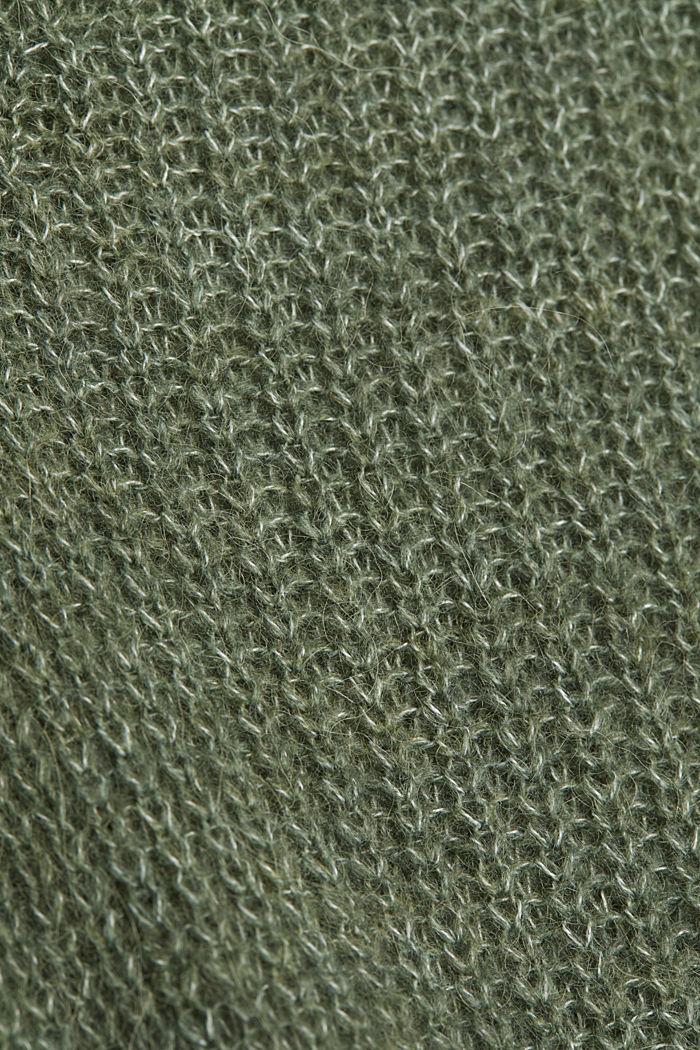 Alpaca blend: V-neck jumper, KHAKI GREEN, detail image number 4