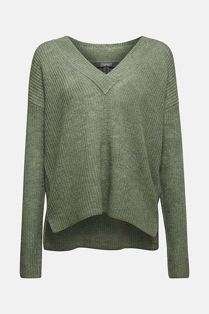 Alpaca blend: V-neck jumper, KHAKI GREEN, detail image number 6