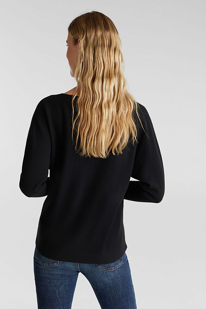 100% cashmere: Jumper with batwing sleeves, BLACK, detail image number 3