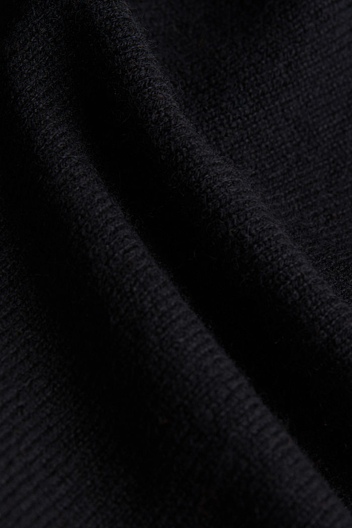 100% cashmere: Jumper with batwing sleeves, BLACK, detail image number 4