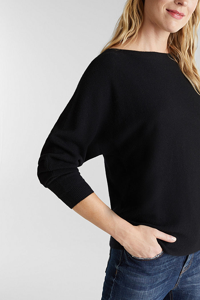 100% cashmere: Jumper with batwing sleeves, BLACK, detail image number 5