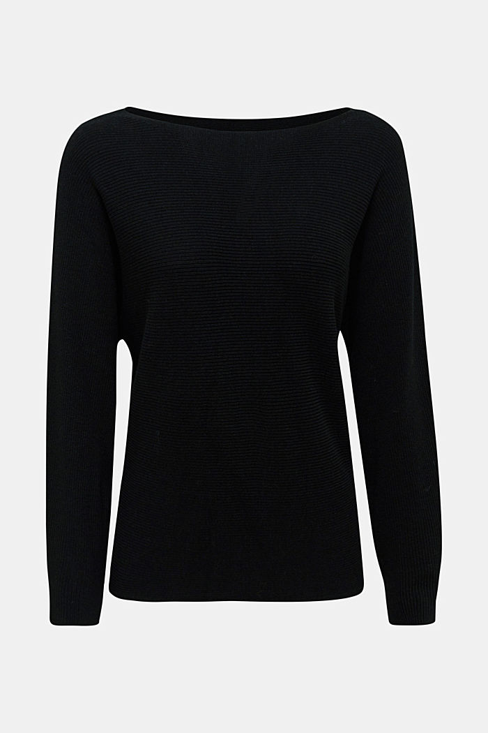 100% cashmere: Jumper with batwing sleeves, BLACK, overview