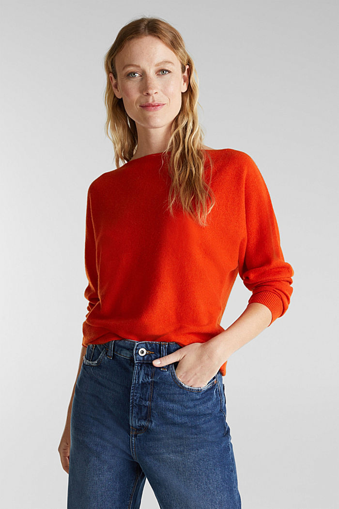 100% cashmere: Jumper with batwing sleeves, RUST ORANGE, detail image number 0