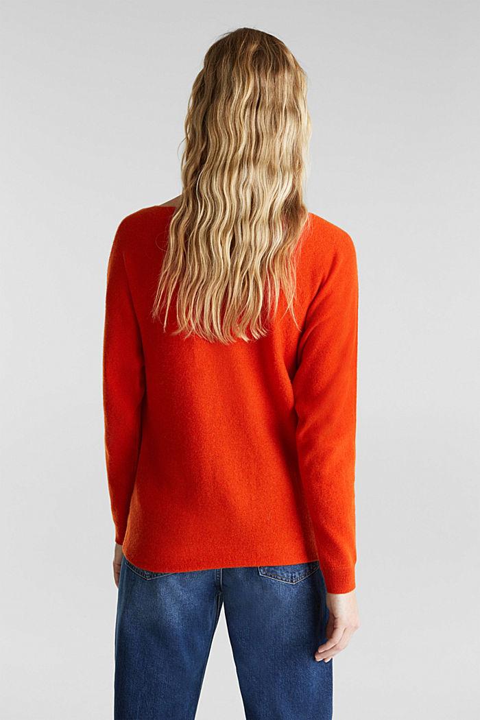 100% cashmere: Jumper with batwing sleeves, RUST ORANGE, detail image number 3