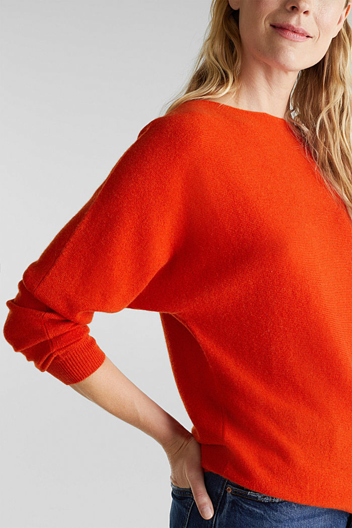 100% cashmere: Jumper with batwing sleeves, RUST ORANGE, detail image number 2