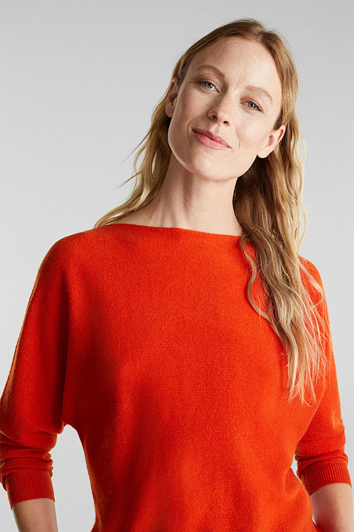 100% cashmere: Jumper with batwing sleeves, RUST ORANGE, detail image number 6