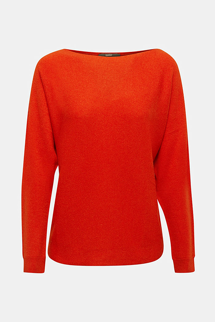 100% cashmere: Jumper with batwing sleeves, RUST ORANGE, detail image number 7