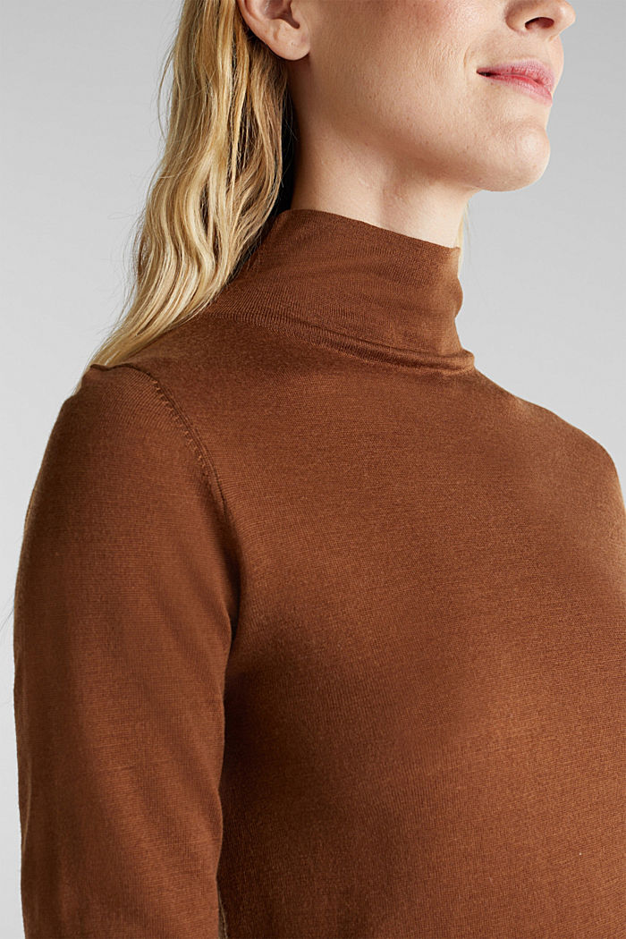 Made of wool/silk: polo neck jumper, TOFFEE, detail image number 2