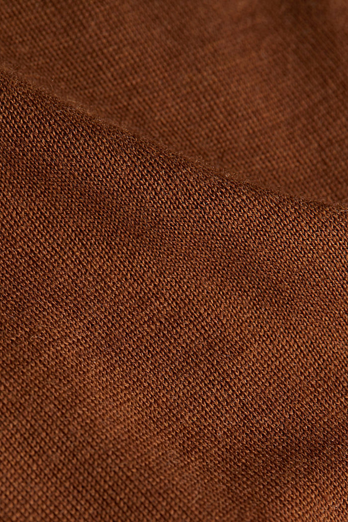 Made of wool/silk: polo neck jumper, TOFFEE, detail image number 4