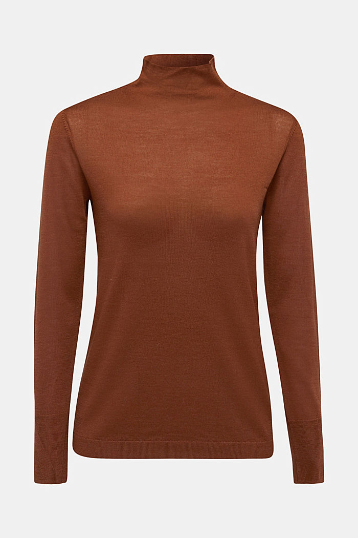Made of wool/silk: polo neck jumper, TOFFEE, detail image number 5
