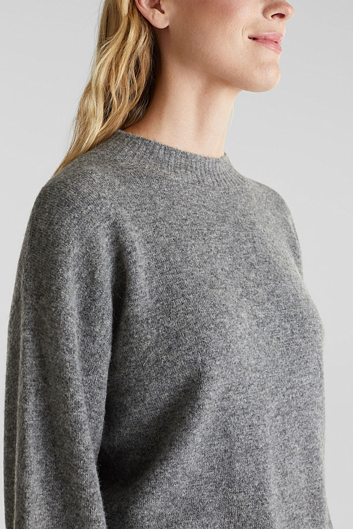 Made of blended wool: jumper with balloon sleeves, GUNMETAL, detail image number 2