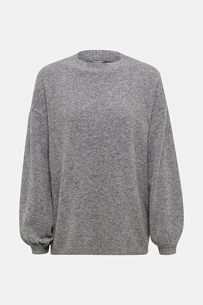 Made of blended wool: jumper with balloon sleeves, GUNMETAL, detail image number 7
